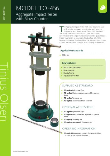 MODEL TO-456 Aggregate Impact Tester with Blow Counter from Tinius Olsen