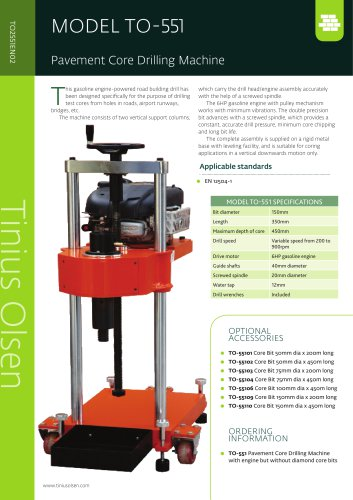 MODEL TO-551 Pavement Core Drilling Machine from Tinius Olsen