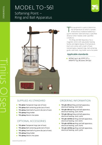 MODEL TO-561 Softening Point – Ring and Ball Apparatus from Tinius Olsen