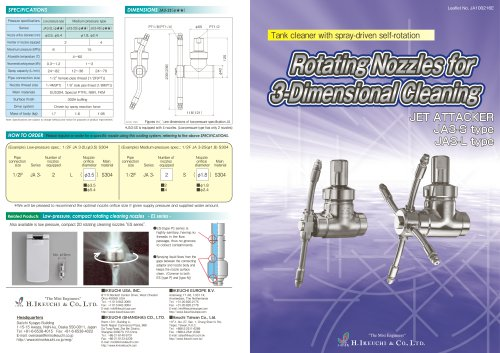 Rotating nozzles for 3 dimensional cleaning- JA series