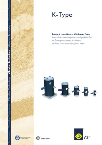 Pneumatic Linear Vibrators With Internal Piston K- Type