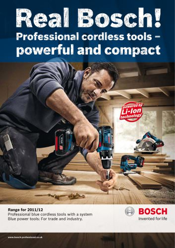 Professional blue cordless tools with a system