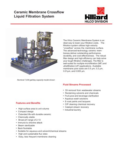 Ceramic Membrane Crossflow Liquid Filtration System