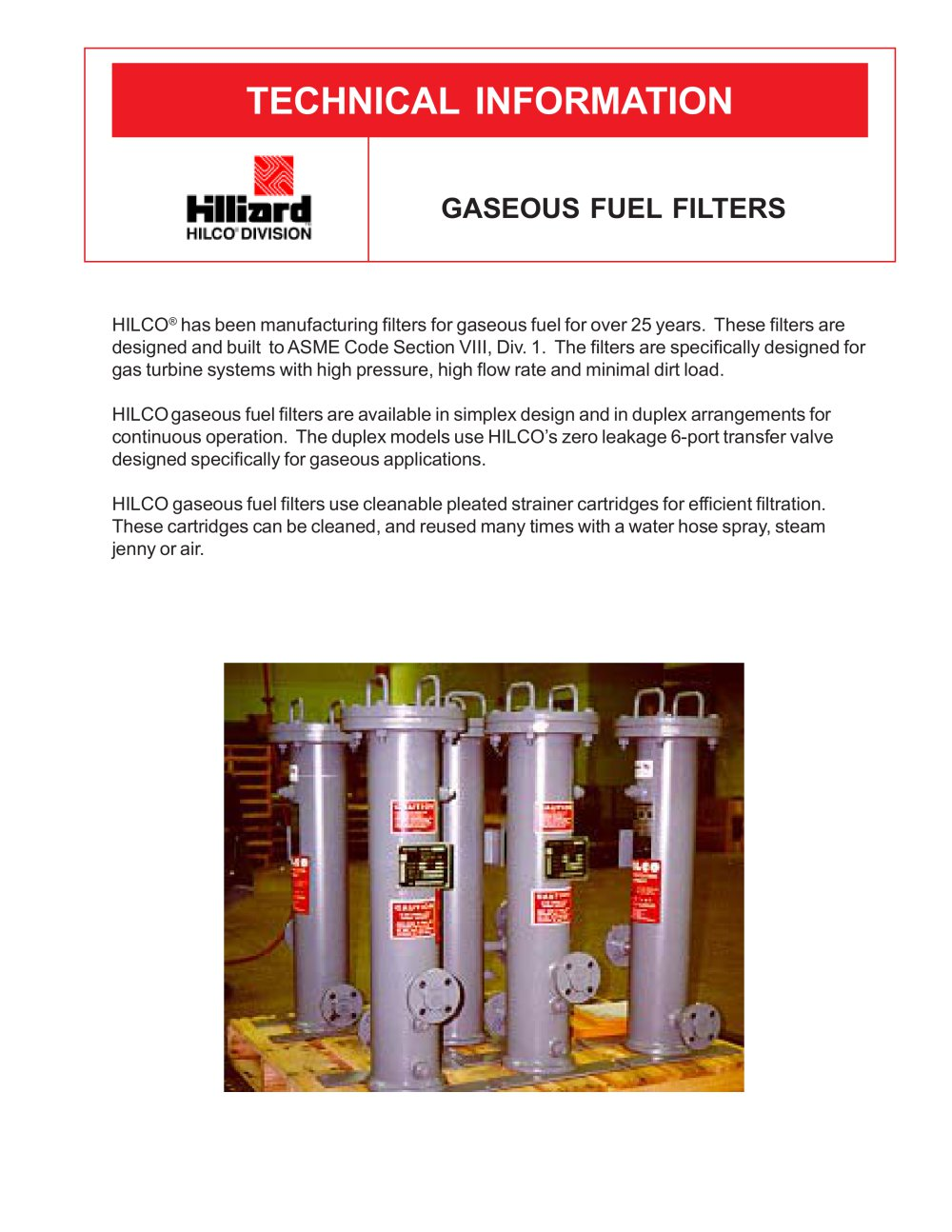 Gaseous Fuel Filters The Hilliard Corporation Pdf Catalogue 2 1 Pages