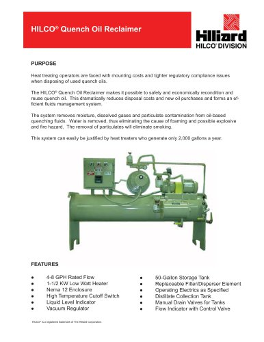 HILCO® Quench Oil Reclaimer