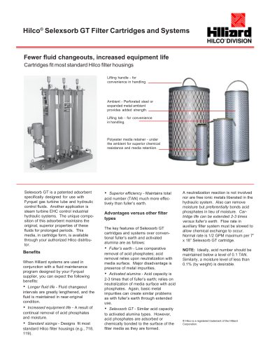 Hilco® Selexsorb GT Filter Cartridges and Systems