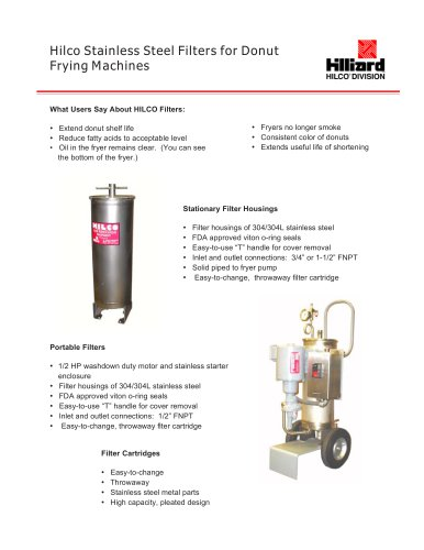 Hilco Stainless Steel Filters For Donut Frying Machines