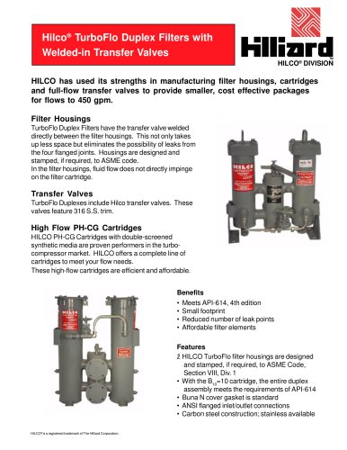 Hilco® TurboFlo Duplex Filters with Welded-in Transfer Valves