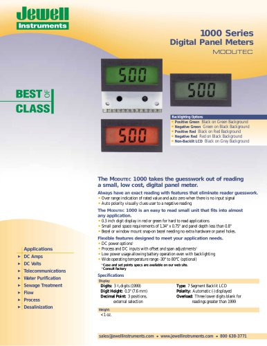 1000 Series Digital Panel Meters