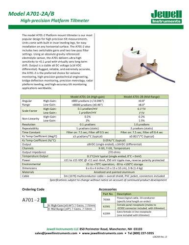 A701-2 Tiltmeter Datasheet