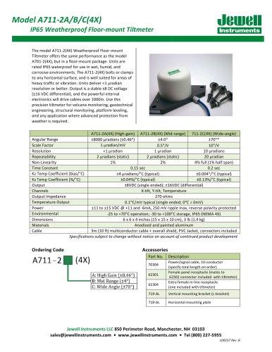 A711-2(4X) Tiltmeter Datasheet