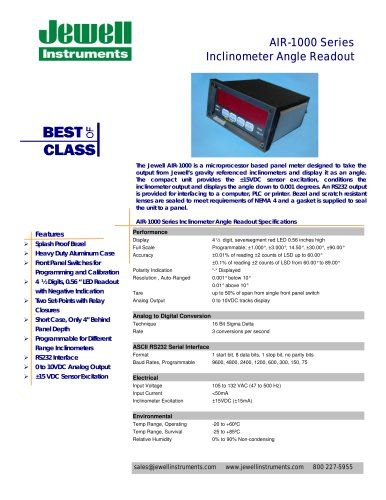 AIR-1000 Series Inclinometer Angle Readout
