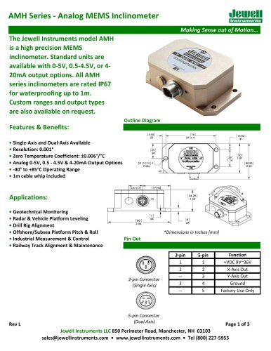 AMH Analog MEMS Inclinometer Datasheet
