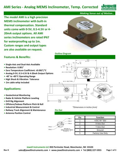 AMI Analog MEMS Inclinometer Datasheet