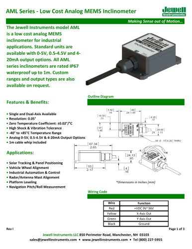 AML Analog MEMS Inclinometer Datasheet