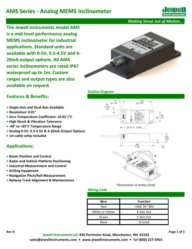 AMS Analog MEMS Inclinometer Datasheet