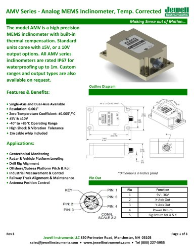 AMV Analog MEMS Inclinometer Datasheet