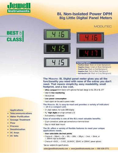BL Non-Isolated Power DPM Big Little Digital Panel Meters