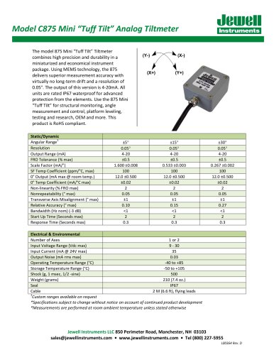 C875 Mini MEMS Tuff Tilt, 4 - 20mA Output