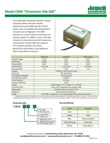 C904 Clinometer Pak 420 Datasheet