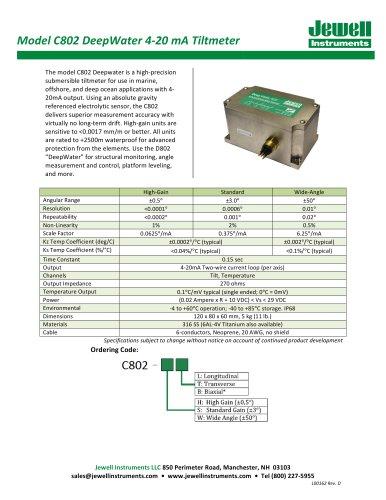 DeepWater 4-20mA Tiltmeter Datasheet