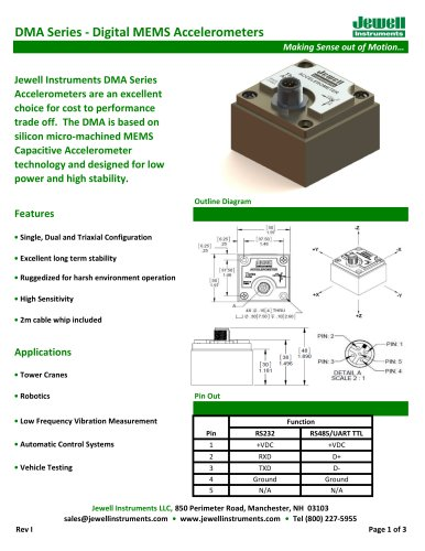 DMA MEMS Accelerometer Datasheet