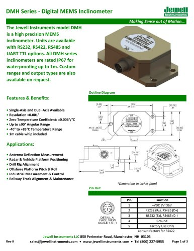 DMH Digital MEMS Inclinometer Datasheet