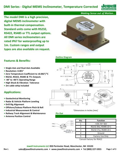 DMI Digital MEMS Inclinometer Datasheet