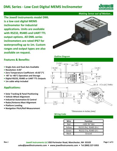 DML Digital MEMS Inclinometer Datasheet