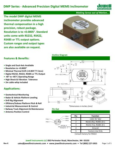 DMP Digital MEMS Inclinometer Datasheet