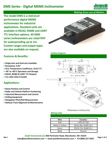 DMS Digital MEMS Inclinometer Datasheet