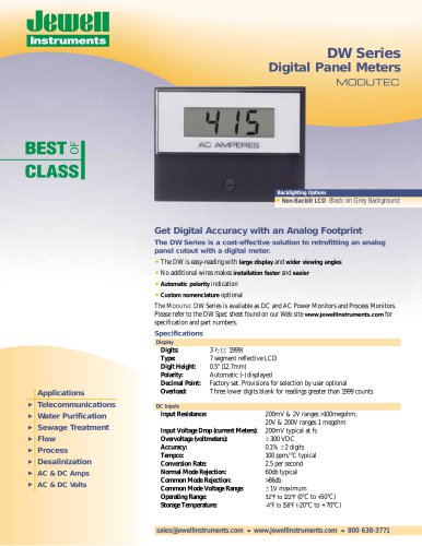 DW Series Digital Panel Meters