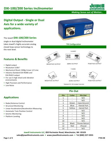 DXI-100-200 Digital Inclinometer Series