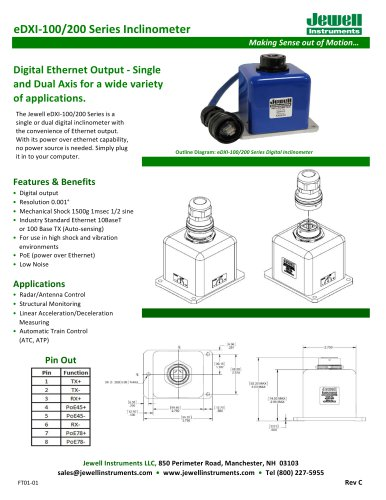 eDXI-100/200 Inclinometer Series Datasheet