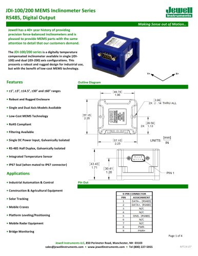 JDI-100/200 Digital MEMS Inclinometer Datasheet