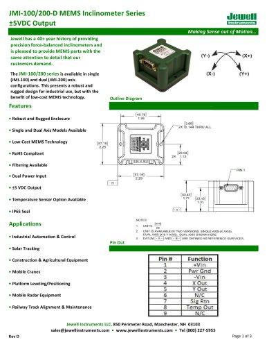 JMI-D +/-5 VDC Output MEMS Inclinometer Datasheet