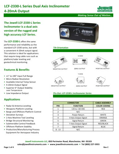 LCF-2330-L 4-20mA Output Inclinometer Datasheet