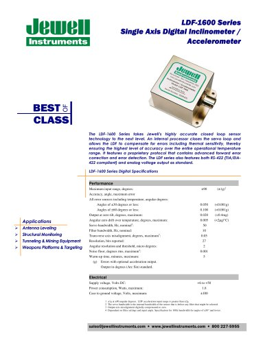LDF-1600 Series Single Axis Digital Inclinometer / Accelerometer
