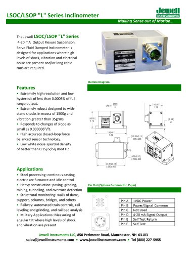 LSOC/P Series 4-20 mA Output Flexure Suspension Servo Fluid Damped Inclinometer