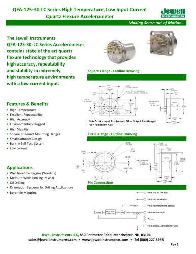 QFA-125 Low Input Current Quartz Accelerometer