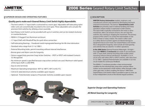 Gemco 2006 Rotary Limit Switch Datasheet