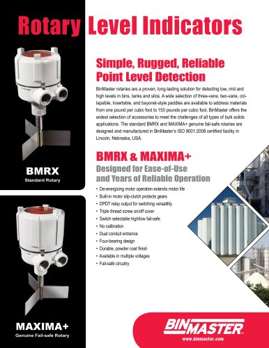 BinMaster BMRX Rotary Level Indicator Brochure