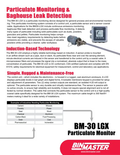 BM-30 LGX Particulate Monitor Brochure