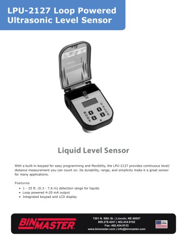 LPU-2127 Loop Powered Ultrasonic Sensor Brochure