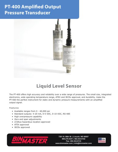 PT-400 Amplified Output Pressure Transducer Brochure