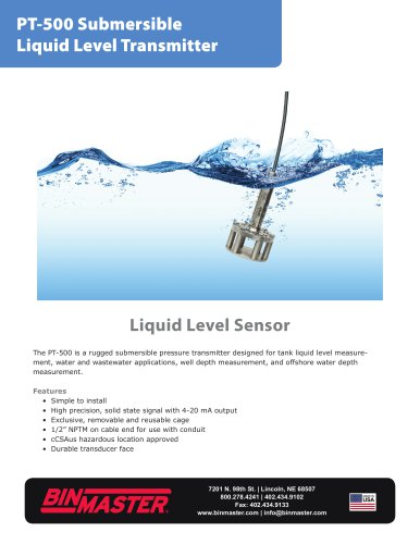 PT-500 Submersible Liquid Level Transmitter Brochure