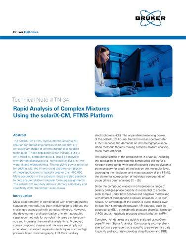 Rapid Analysis of Complex Mixtures Using the solariX-CM, FTMS Platform