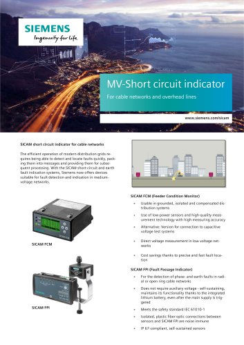 MV-Short circuit indicator For cable networks and overhead lines