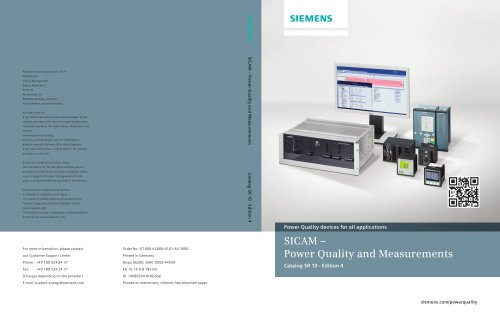 Power Quality and Measurements Product Catalog SR 10 V1.0