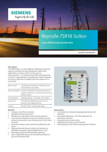 Reyrolle 7SR18 Solkor Line differential protection